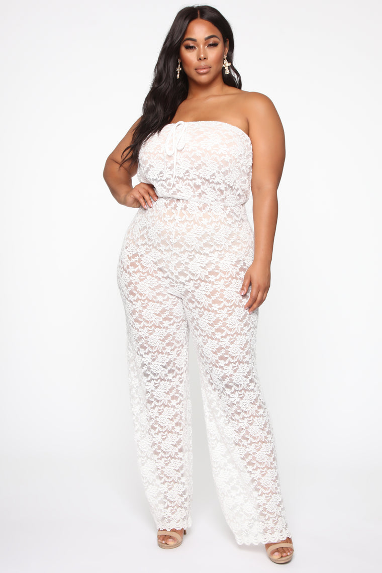Hidden Meaning Lace Jumpsuit - White