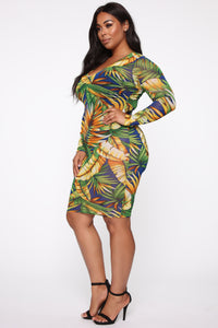 Leaf Me In The Tropics Mesh Midi Dress - Blue/combo
