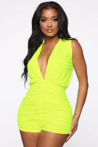 Shayla Ruched Romper - Neon Yellow