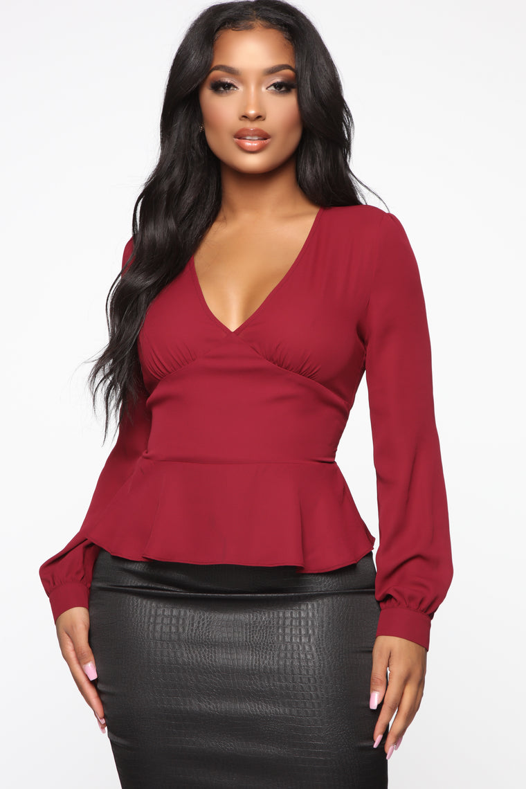 Parisa Blouse   Burgundy by Fashion Nova