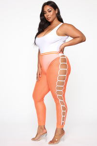 Playing The Game Mesh Joggers - Neon Orange
