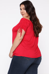 All Over You Off Shoulder Top - Red