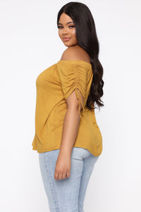 All Over You Off Shoulder Top - Mustard