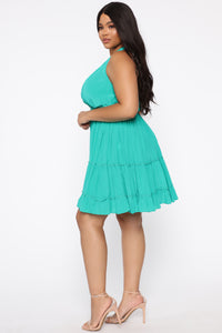 Give Some Perspective Halter Dress - Kelly Green
