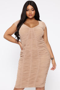 Simply Ageless Ruched Midi Dress - Nude Angle 7