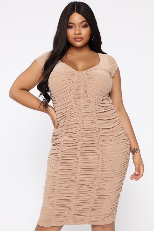 f0505d06e Simply Ageless Ruched Midi Dress - Nude