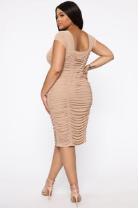 Simply Ageless Ruched Midi Dress - Nude Angle 10