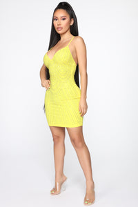 Keep Shinin' On Rhinestone Mini Dress - Yellow