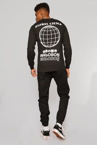 Globe Worldwide Long Sleeve Tee - Black/White