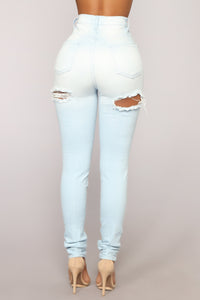Bae In Distress Skinny Jeans - Light Denim