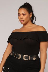 Liz Ruffle Off Shoulder Bodysuit - Black