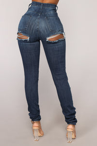 Cut The BS High Rise Distressed Jeans - Dark Denim