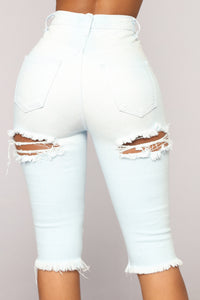 Check You Out Distressed High Rise Shorts - Light Blue Wash