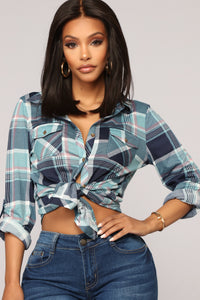Soul Mate Navy Plaid Top - Navy/Aqua