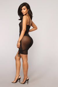 Madly In Love Ruched Dress - Black