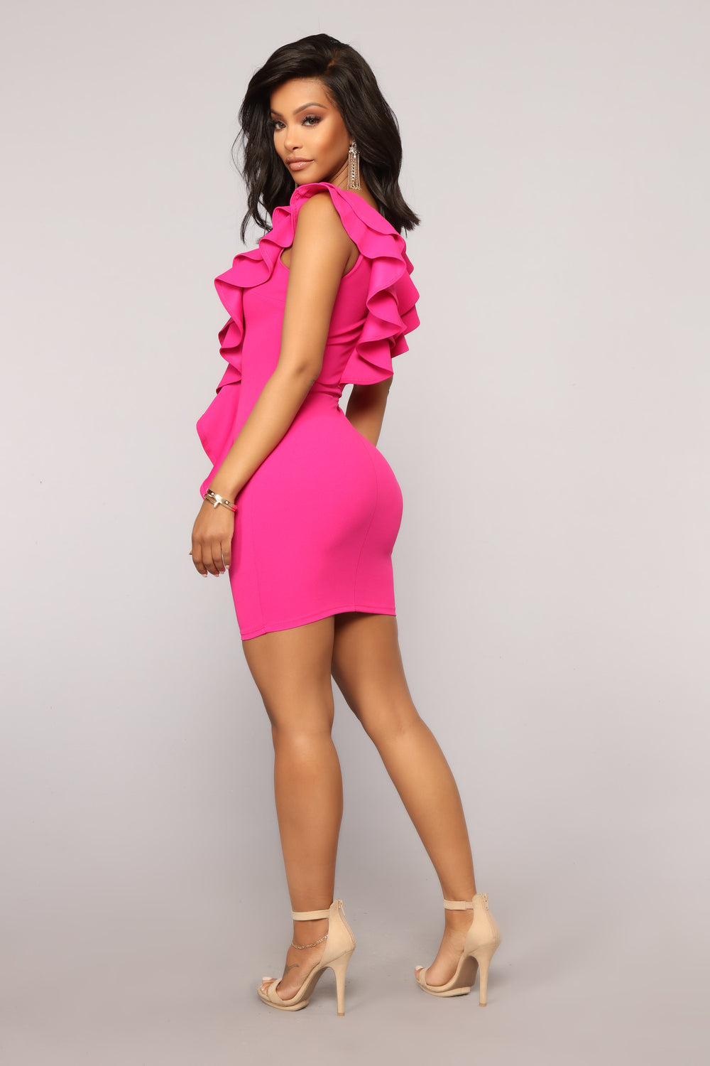 Only Desire Ruffle Dress - Fuchsia