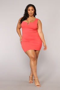Elise Lace Up Dress - Coral Angle 5