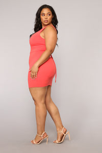 Elise Lace Up Dress - Coral Angle 7