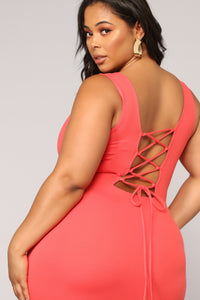 Elise Lace Up Dress - Coral Angle 8