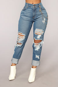 Wright Boyfriend Jeans - Medium Blue Wash Angle 2