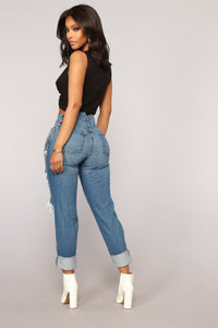 Wright Boyfriend Jeans - Medium Blue Wash Angle 5