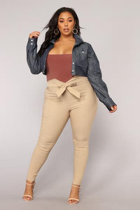 Knot Your Girl Pants - Khaki Angle 7