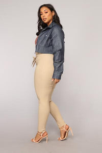 Knot Your Girl Pants - Khaki Angle 9