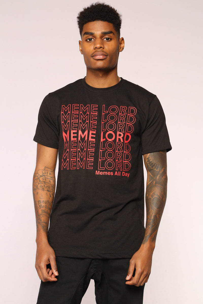 Meme Lord Short Sleeve Tee - Black/Red