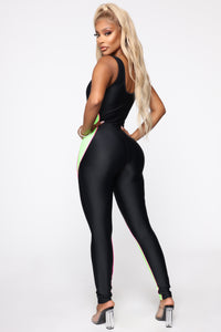 Meshy Details Jumpsuit - Black/Lime