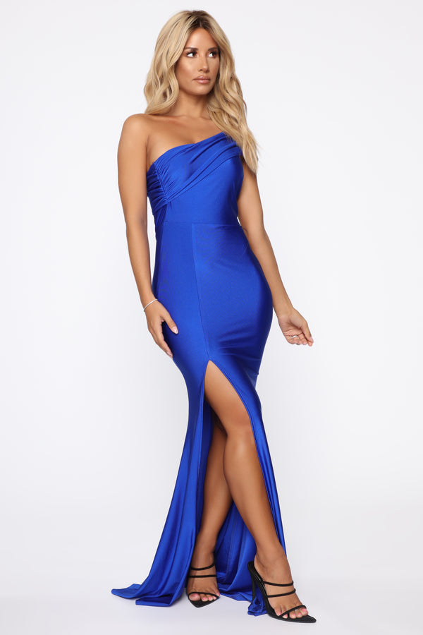 04023ff2ae4 Evening Romance One Shoulder Maxi Dress - Royal