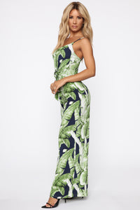 On Island Time Tropical Print Jumpsuit - Navy/Combo