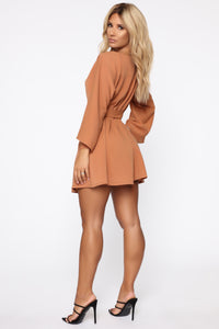 Wrap Me Up Baby Fit And Flare Mini Dress - Cognac