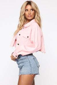 Raw Edged Babe Denim Jacket - Light Pink
