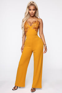 Quite Sweet Crochet Jumpsuit - Mustard
