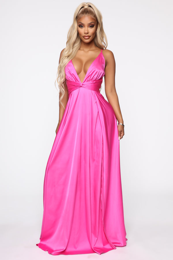 01a02830c Want You To Stay Satin Maxi Dress - Magenta