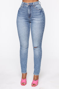Need A Pick Me Up Ultra High Rise Jeans - Light Blue Wash Angle 2