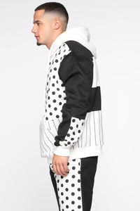 Spot The Stripe Hoodie - Black/White