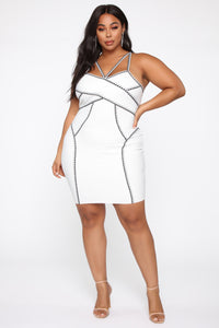 All The Right Angles Bandage Mini Dress - Off White/Black Angle 6