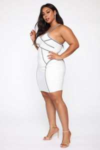All The Right Angles Bandage Mini Dress - Off White/Black Angle 7