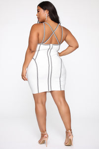 All The Right Angles Bandage Mini Dress - Off White/Black Angle 8