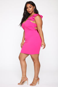 All About Fun Tie Back Mini Dress - Fuchsia Angle 7