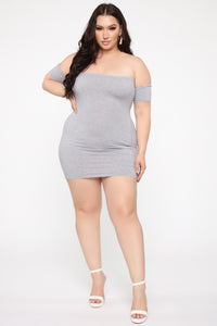 Simple Dreams Off Shoulder Mini Dress - Heather Grey Angle 5