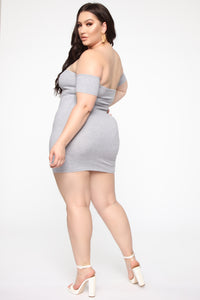 Simple Dreams Off Shoulder Mini Dress - Heather Grey Angle 6