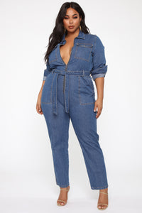 Fight For Your Right Denim Jumpsuit - Medium Blue Wash Angle 6