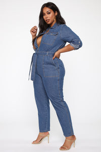 Fight For Your Right Denim Jumpsuit - Medium Blue Wash Angle 9