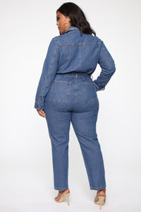 Fight For Your Right Denim Jumpsuit - Medium Blue Wash Angle 10