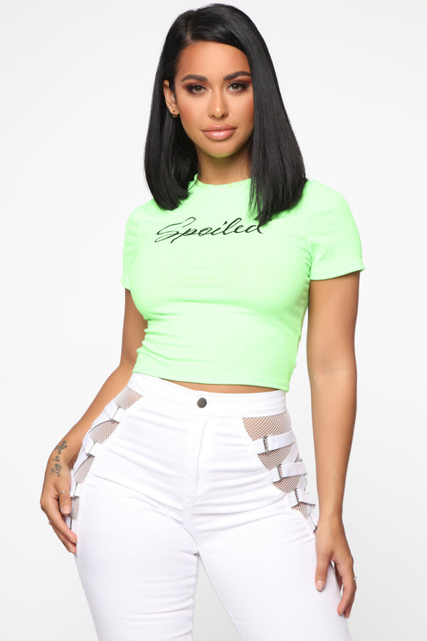 outlet store 0deb4 59a10 Spoiled Short Sleeve Top - Neon Green
