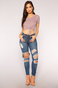 Pushin' Buttons Crop Top - Mauve
