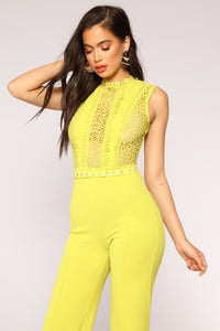 Talk About An Upgrade Jumpsuit - Lime