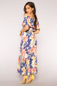 Full Blossom Floral Dress - Navy/Multi